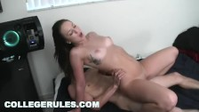 COLLEGE RULES Brunette Girl Rides Cock In The Bedroom